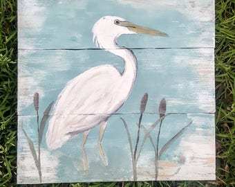 Reclaimed Wood Egret Painting Wall Hanging. Rustic Louisiana Southern Decor.
