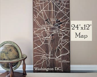 Washington DC Map Wall Art, Large Wooden Map, Washington DC City Map, Wooden Street Map, Painted Wood Map, House Address Map by Novel Maps