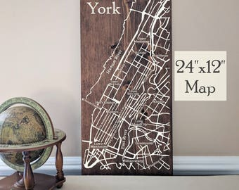 New York City Map, Large Wooden Map, New York City Wall Art, Wooden Street Map, Custom Painted Map, House Address Map by Novel Maps