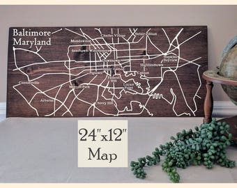 Baltimore Map, Large Wooden Map, Baltimore Map Wall Art, Baltimore City Map, Wood Street Map, Custom Painted Map, Address Map by Novel Maps