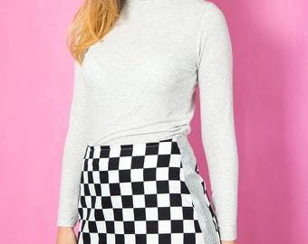 Checkered / Racing / Chessboard / Chef's Check Mini Skirt With Silver Metallic Panels