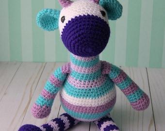 Crochet Purple Striped Baby Giraffe - Stuffed Animal Amigurumi Toy- Boy or Girl - Baby Shower Gift - Nursery Decor - Made to Order