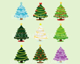80% OFF SALE Commercial use Christmas tree clipart Christmas tree clip art Christmas trees vector graphics Christmas tree illustration GRPS9