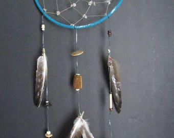 Dreamcatcher - Wall Hanging - Blue with Crystal and Bone Beading
