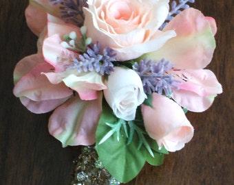 Peach and Lavender Wedding Wrist Corsage