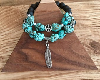 Beaded Bracelet Turquoise Bracelet Boho Bracelet Mala Bracelet