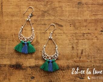 """SILVER 925 - Earrings / Earrings """"Geometric Moon & tassels"""" blue and green"""