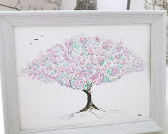 Cherry Blossom Watercolour: Green and Pale Pink Blossom Tree Painting, framed with bird drawing details (can be personalised for gifting)