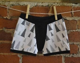 Little Trees Boxers- Size 4-5 years - PREMADE ITEM- Ready To Ship - Handmade - Child's underwear - Toddler Undies - Children's Underwear