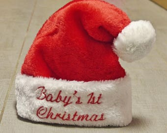 First Christmas personalized baby, First Christmas Baby hat, 1st Christmas, Santa Claus hat personalized baby, baby Santa hat