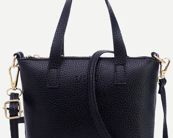 Pebbled Faux Leather Tote Bag With Strap