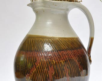Large vintage pitcher // Vintage pottery // VTG signed ceramic water pitcher