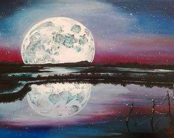 Moon #6, Landscape Painting, Oil on Paper, 40x30 cm, Moon landscape by MaryAlice