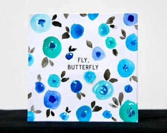 Fly, Butterly - 3x3 Original Mini Watercolor Painting