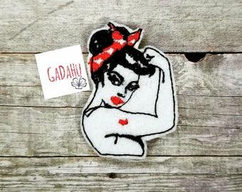 Girl Power Embroidery Design 4x4 hoop Instant Download. Felties.