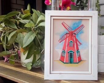 Original Illustration ArtWork Windmill Watercolor