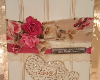 Vintage Shabby Chic Painted Wood Valentine Sign Pink Roses White Wainscot Love and Hope Hanger Shabby Chic Roses Romantic Wood Tag