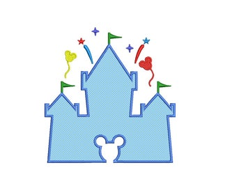 Disney Castle APPLIQUE Design - 3,4,5,6,7 inch - Disney Castle Embroidery design - Castle Embroidery instant download princess castle