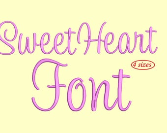Sweetheart Embroidery Font Monogram Alphabet - 4 Sizes instant download