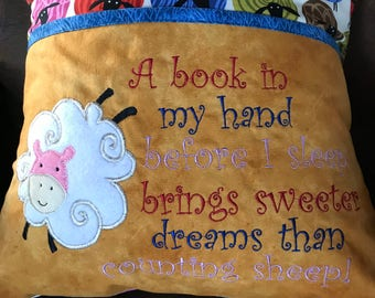 Book Pillow Reading Pillow, Counting Sheep, A Book In My Hand Before I Sleep Brings Sweeter Dreams Than Counting Sheep