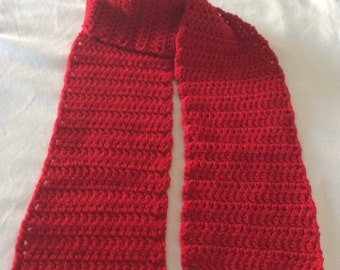 Crochet Scarf / Red / Hand Crocheted Red Scarf