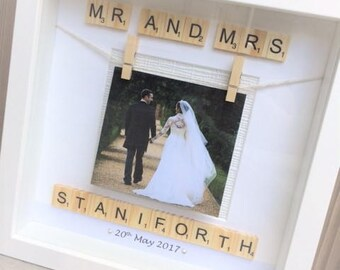 Wedding Scrabble Personalised Photo Frame / Wedding Picture Frame / Personalised Wedding Gift / Wedding Photo Frame / Scrabble Letter Frame