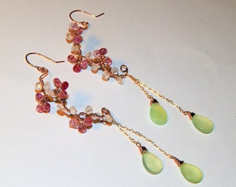 Pink sapphire, moonstone and mint chalcedony half hoop earrings. Cherry blossoms earrings.