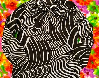 Vintage Black and White Psychedelic Kitten Bow French Cuffs Blouse Trippy Abstract Surreal