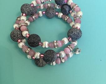 Beaded Wrap Bracelet / Charm Bracelet / Statement Bracelet / Pink Bracelet / Silver Bracelet / Memory Wire Bracelet / Gift For Her