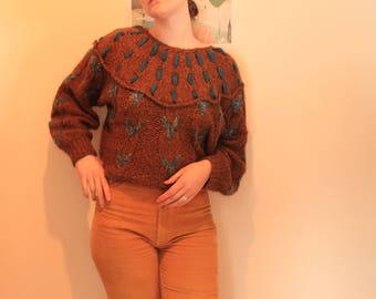 Handmade Pure Wool Womens Gyspsy Detailed Jumper (S-M)
