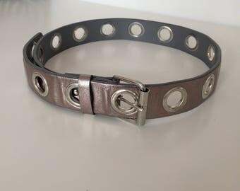 Y2K chunky silver grommet belt