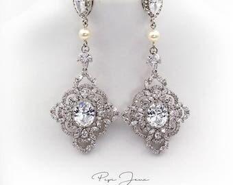 Wedding Earrings Zirconia Earrings Swarovski Pearl Rhinestone Earrings Bridal Earrings Wedding Jewelry Bridal Jewelry Wedding Accessory Yen