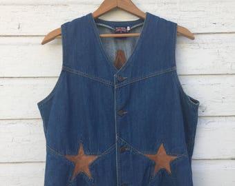 XL Denim and Leather Vest - Vintage 1970's - Western