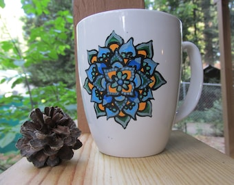 Flower Mandala Mug Handpainted, Bohemian Painted Coffee Mug, Dishwasher Safe Colorful Mandala Mug