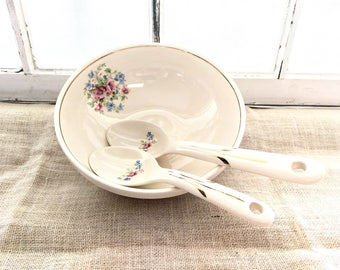 Vintage 1940s Royal China Serving Bowl & Serving Spoons