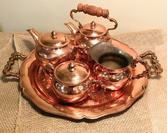 Vintage Copper Leaf Chilean Tea Set with Hammered Tray, Creamer, Sugar, and (2) Teapots