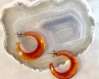 """Mini synthetic amber 1"""" hoops"""