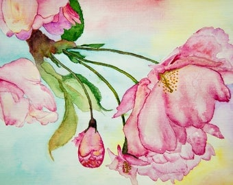 Pink Flowers Original Watercolor Painting ArtWork by AliiArtColors, 210x297mm