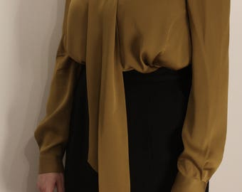 Goldenrod Silk Diane von Furstenberg Bow Blouse S M