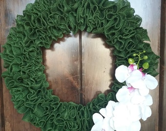 Colored Burlap Wreath with Orchid