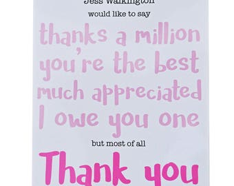 PERSONALISED 'Print your own' Female THANK YOU card