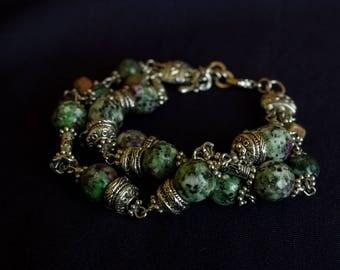 Bracelet with MOSS agate, Jasper, zoisite