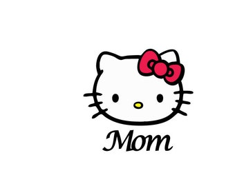 Kitty face with MOM and BIG SISTER Customizable