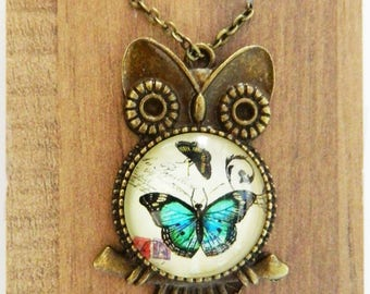 Owl of Butterflies Necklace