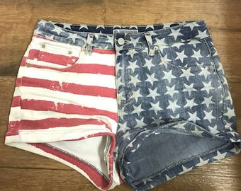 American Flag Printed High Waisted Jean Shorts