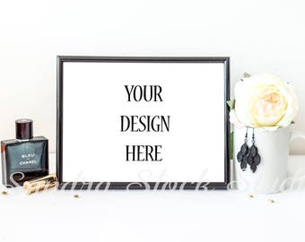 Black Frame Mockup, Horizontal Frame 8x10, Styled Stock Photography, Feminine Styled Frame, PSD, Smart Object, Styled Black Frame