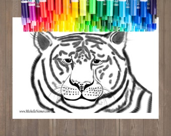 Tiger Adult Coloring Page Printable Instant Download Digital