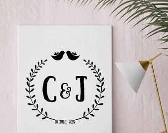 Personalised Wedding Gift Custom Print Anniversary Print Couple Print HI Res Digital Download Print Your Own Wedding Gift Anniversary Gift