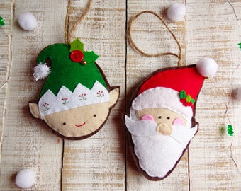 Handmade Felt Christmas Tree Ornament, Santa Claus and Elf, Christmas decorations, Holiday Ornament, Felt Sant ornament, Felt Elf ornament