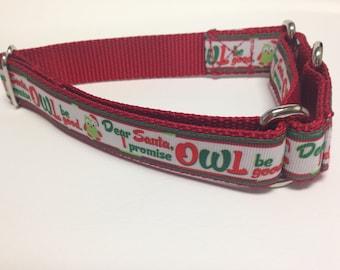 """Martingale Dog Collar, Large Christmas Martingale Collar, Large """"Dear Santa"""" Martingale Dog Collar, Large Adjustable Dog Collar"""